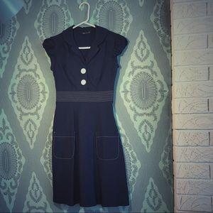 Navy Blue vintage retro Rockabilly/ Sailor dress